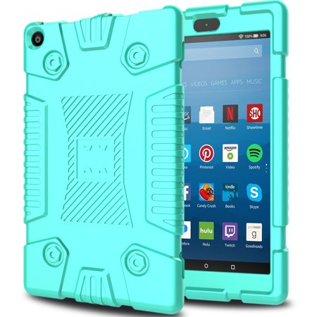 Elegant Choise for Kindle Fire 8 2017 Silicone Rubber Case New Shockproof Anti-slip Light Weight Kids Friendly Silica Gel Thin Layer Protective Cover for All-New Amazon Fire HD