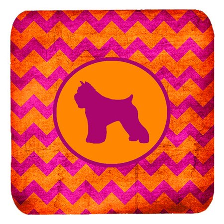 1120 Foam - Set of 4 Bouvier des Flandres Chevron Pink and Orange Foam Coasters