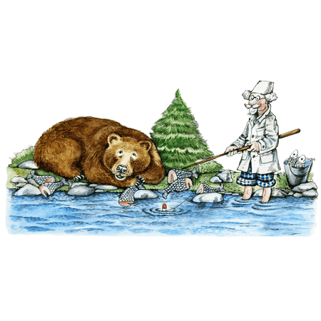 Fishing Bear Edible Icing Image Cake Toppers for 1/4 sheet cake (Fishing Cake Toppers)