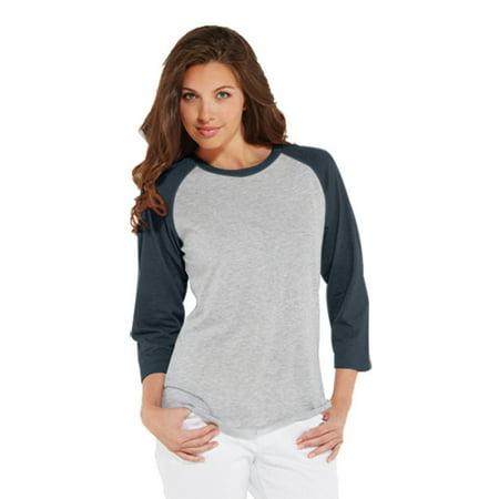 LAT LA3530 Ladies'' Baseball T-Shirt - VN HTHR/ VN NAVY - S