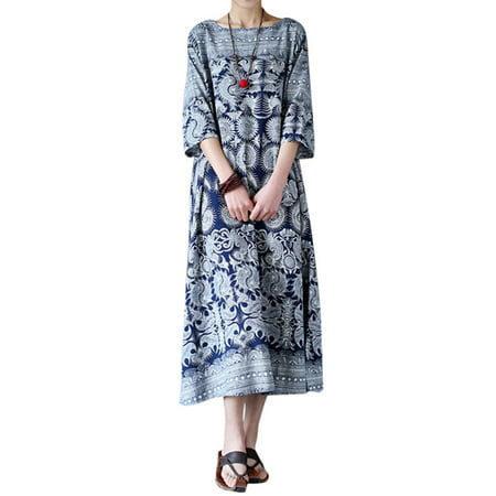 Womens 3/4 Sleeve Floral Printed Tunic Baggy Long Maxi - Brushstroke Floral Print Dresses