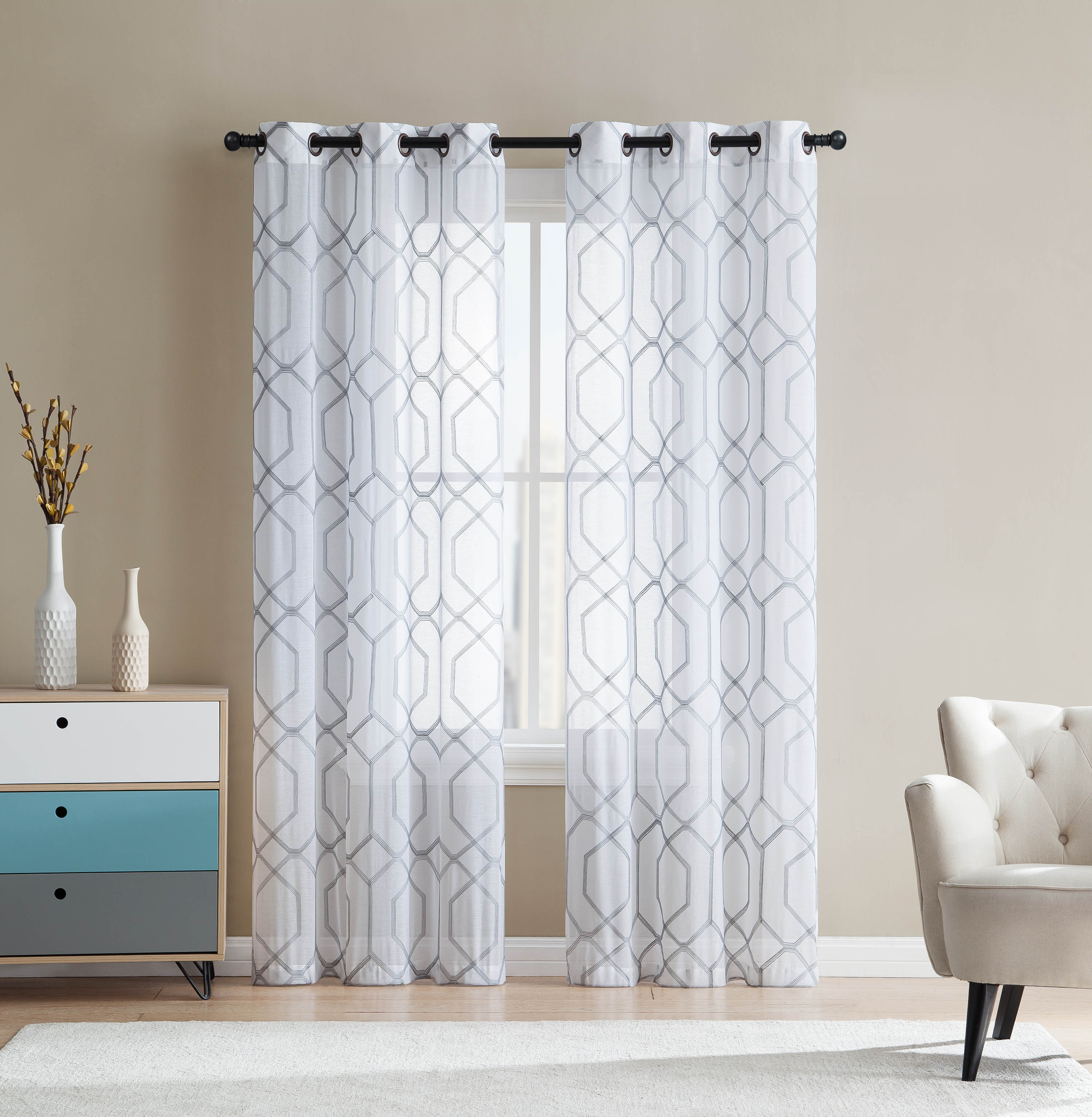 White And Gray Sheer Grommet Window Curtain Panel Pair With Embroidered Geometric Design 38w X 96l Each Walmart Com Walmart Com