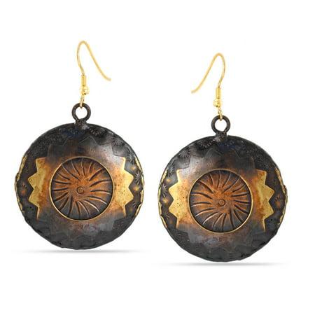 Copper Disc Drop (TAZZA WOMEN'S ANTIQUE LOOK GOLD AND COPPER BRONZE OXIDISED ROUND DISC DROP)