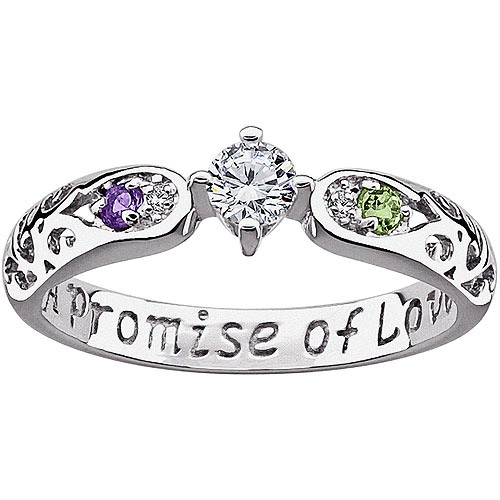 Personalized Couple's Sterling Silver Genuine Birthstone and Diamond Accent CZ Promise Ring