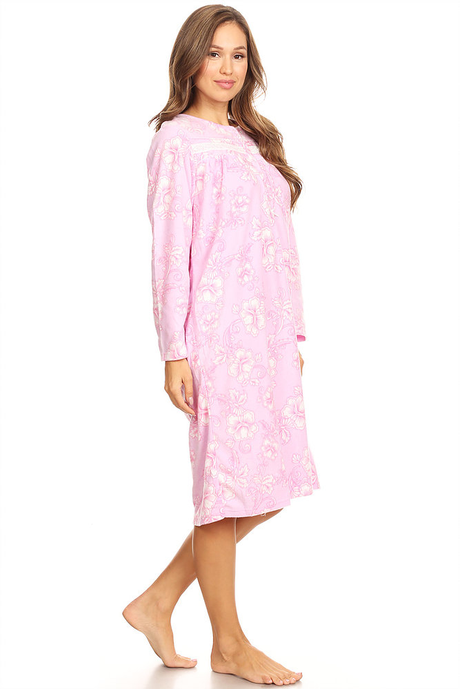b629d0a0d7 Lati Fashion - 4026 Fleece Womens Nightgown Sleepwear Pajamas Woman Long  Sleeve Sleep Dress Nightshirt Pink M - Walmart.com