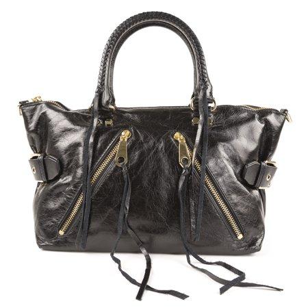 Rebecca Minkoff Moto Satchel Tote, Black Crackled Leather ()