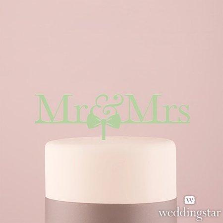 Weddingstar 4462-30 Mr & Mrs Bow Tie Acrylic Cake Topper - Daiquiri Green](Bow Tie Cake)