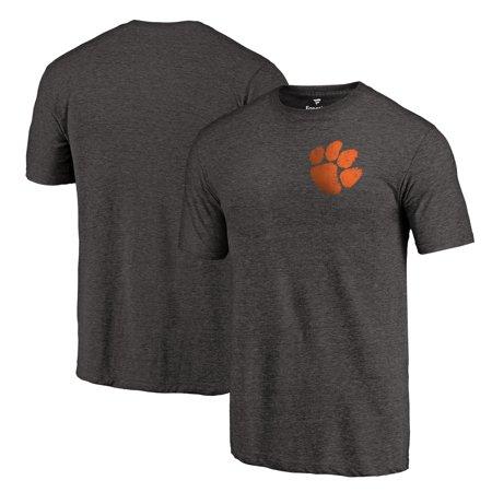 Clemson Tigers Fanatics Branded Left Chest Distressed Logo Tri-Blend T-Shirt - Black