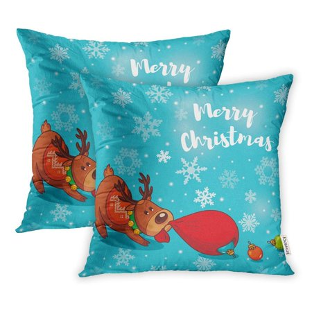ARHOME Comic Christmas Deer Pulls Seasons Greetings Holiday Merry Pillowcase Cushion Cover 16x16 inch, Set of - Cushion Pull