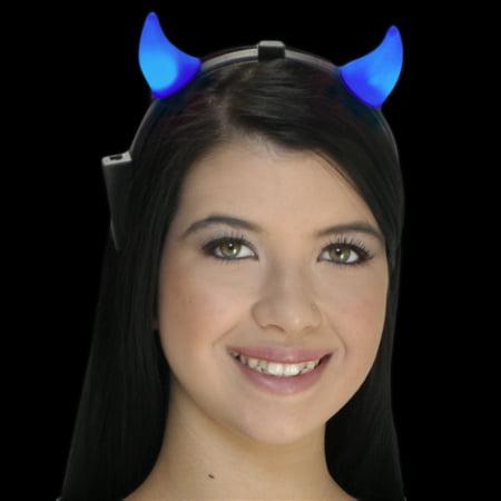 FlashingBlinkyLights Light Up LED Blue Devil Horns -