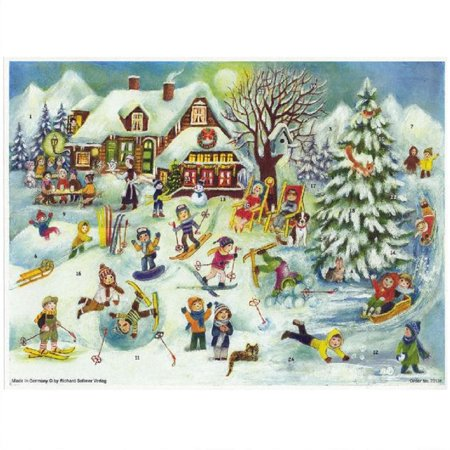 Ski Lodge Children Skiing in the Snow German Christmas Advent Calendar Countdown - Advent Calendar Kids