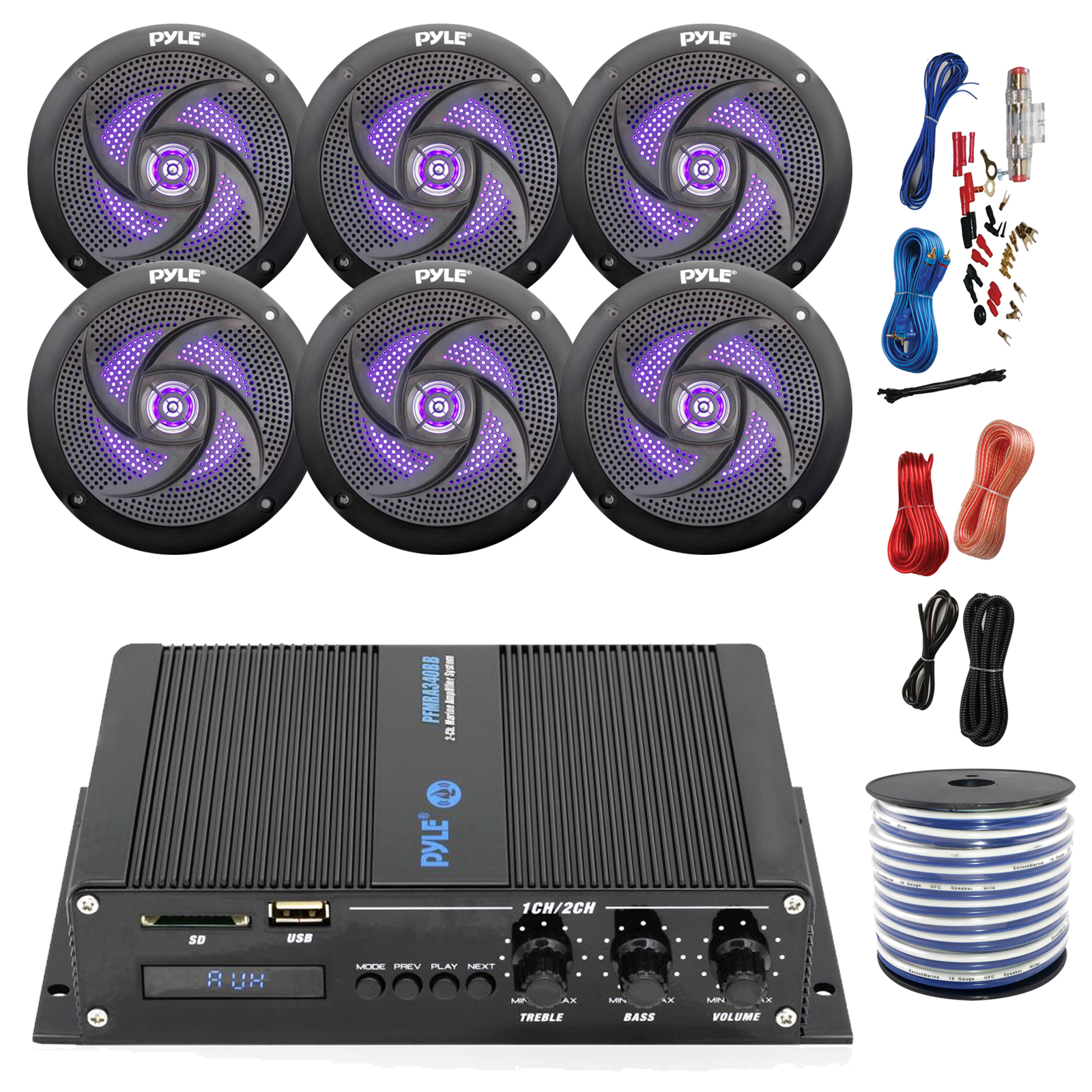"Pyle Marine PFMRA640BB 6-Channel Bluetooth Black Amplifier, 6x Pyle 6.5"" LED Waterproof Weather Resistant Black Speakers, Amp Install Kit, 18-G 50 Ft Speaker Wire"