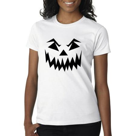 Trendy USA 972 - Women's T-Shirt Scary Halloween Pumpkin Face Jack O Lantern XL White - Halloween Usa Promo