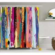 Abstract Shower Curtain, Multicolored Expressionist Work of Art Vibrant Rainbow Design Tainted Pattern, Fabric Bathroom Set with Hooks, 69W X 70L Inches, Multicolor, by Ambesonne