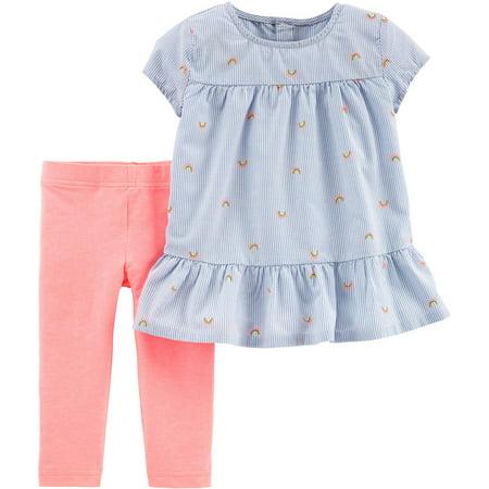 Carters Toddler Girls Pinstripe Rainbow Leggings Set