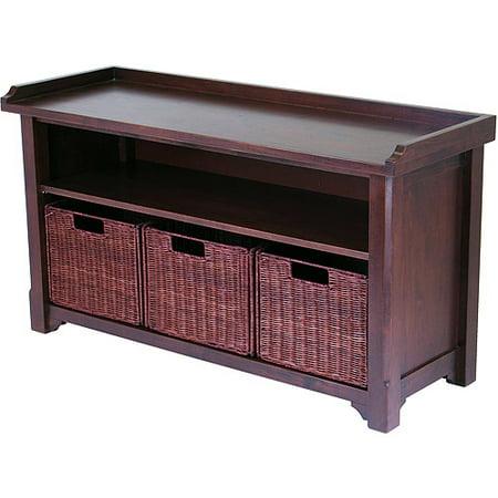 Wood Storage Bench With Baskets Walmart Com