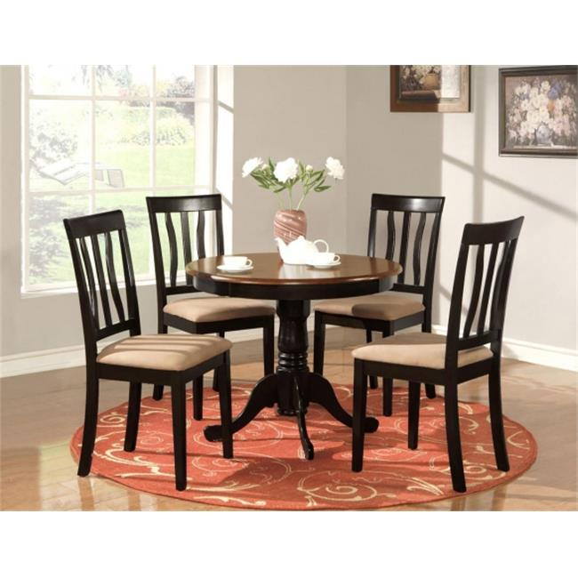 East West Furniture ANTI5-BLK-C 5 -Piece Antique Round Kitchen 36 inch Table and 4 Chairs with Microfiber Upholstered