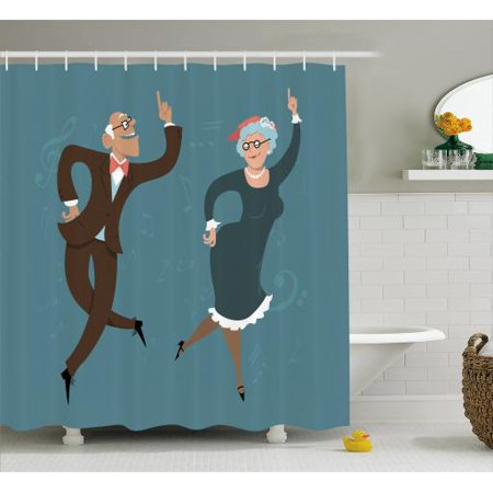 Retirement Party Shower Curtain Elderly Couple Dancing Swing Dance Old Fashion Themed Image Print