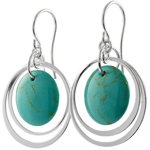 Brinley Co. Block Turquoise Sterling Silver Shepherd's Hook Earrings