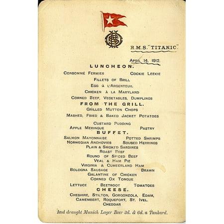 RMS Titanic Menu for 14th April 1912 Poster Print