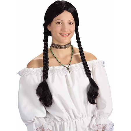 Black Medieval Renaissance Maiden Wig With Pigtails - Renaissance Medieval Clothing