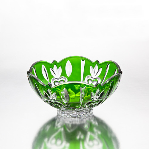Large Crystal Green Candy Dish