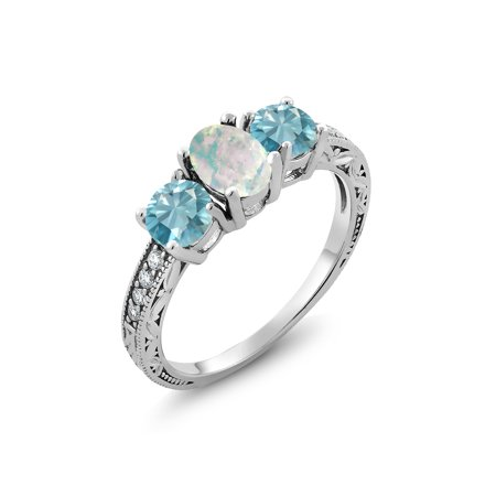 2.82 Ct Oval Cabochon White Simulated Opal Blue Zircon 925 Sterling Silver Ring