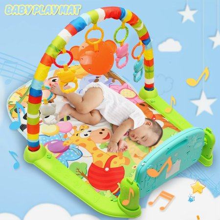 4 in 1 Baby Gym Floor Play Mat 4 Way Play Musical Activity Center Kick And Play Piano Toy Activity Gym and Play Mat Toys Hanging Infant Toddler Development Station