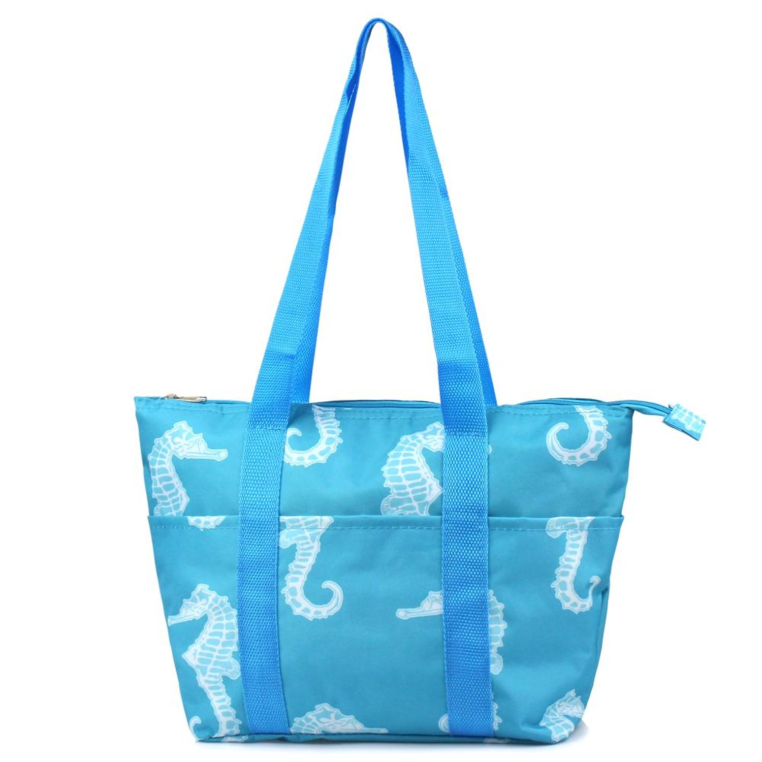 Zodaca Fashion Large Women Handbag Insulated Lunch Tote Zipper Double Handles Carry Bag for Travel Grocery Shopping - Seahorse