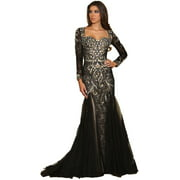 LONG SLEEVE PROM EVENING GOWN