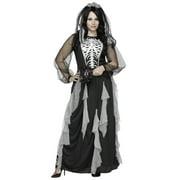 Skeleton Bride Womens Plus Size Corpse Bride Halloween Costume Gown-2X