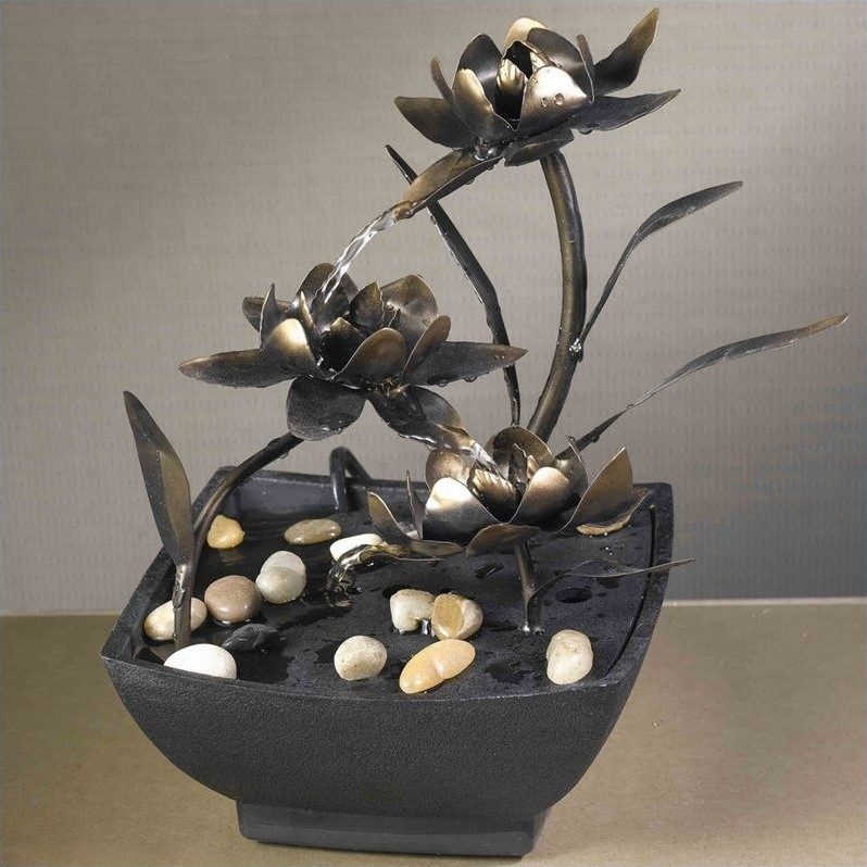 Jeco Cadono Metal Flower Tabletop Fountain by Jeco Inc.