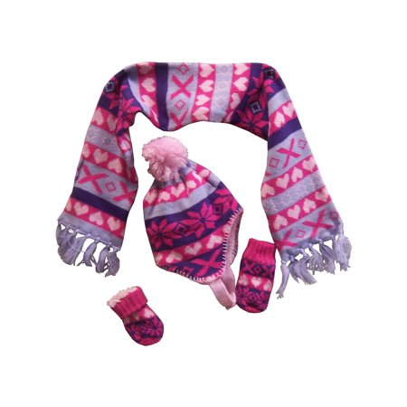 NICE CAPS Little Girls and Infants Sherpa Lined Snowflake Design Knitted Hat Mitten Scarf Cold Weather Winter Accessory Set - Fits Baby Toddler Kids Childrens Sizes ()