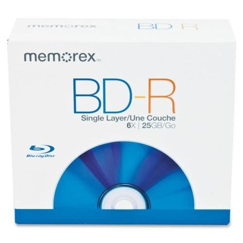 98684 Memorex 98684 Blu-ray Recordable Media - BD-R - 6x - 25 GB - 5 Pack Jewel Case - 120mm