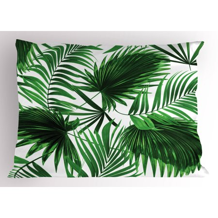 Palm Leaf Pillow Sham Realistic Vivid Leaves of Palm Tree Growth Ecology Lush Botany Themed Print, Decorative Standard Size Printed Pillowcase, 26 X 20 Inches, Fern Green White, by - Palm Tree Leaf