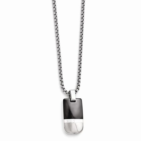 Edward Mirell Titanium Jewelry (Edward Mirell Jewelry Collection Black Titanium and Sterling Silver Polished and Brushed Necklace by Roy Rose Jewelry ~ Length 20'' inches )