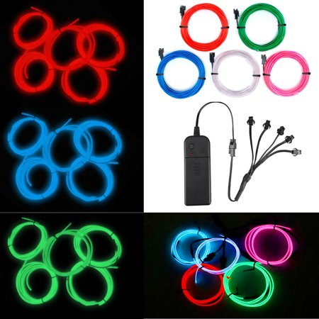 Diy Trio Halloween Costumes (EL Wire Red Neon Lights Kit with 4 Modes Portable Battery Operated for DIY Party Decoration, 5 by 1-Meter, Portable el Electroluminescent Wire Inverter for DIY Dress)