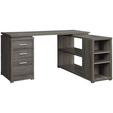 Kingfisher Lane L Shape Writing Desk in Weathered Gray and Silver
