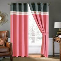 4-Pc Diamond Ornate Damask Embroidery Curtain Set Pink Gray Ivory Sheer Liner Metal Grommet Drape