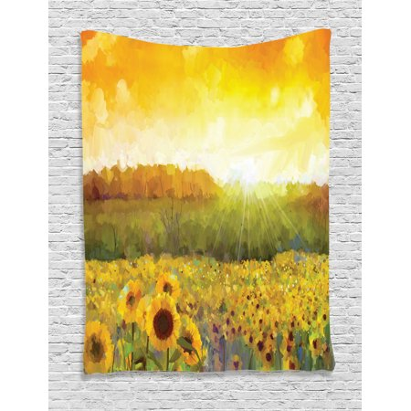 Sunflower Decor Wall Hanging Tapestry, Landscape Art With A Golden Sunflower Field And Distant Hill At Sunset Warm Colors, Bedroom Living Room Dorm Accessories, By Ambesonne ()