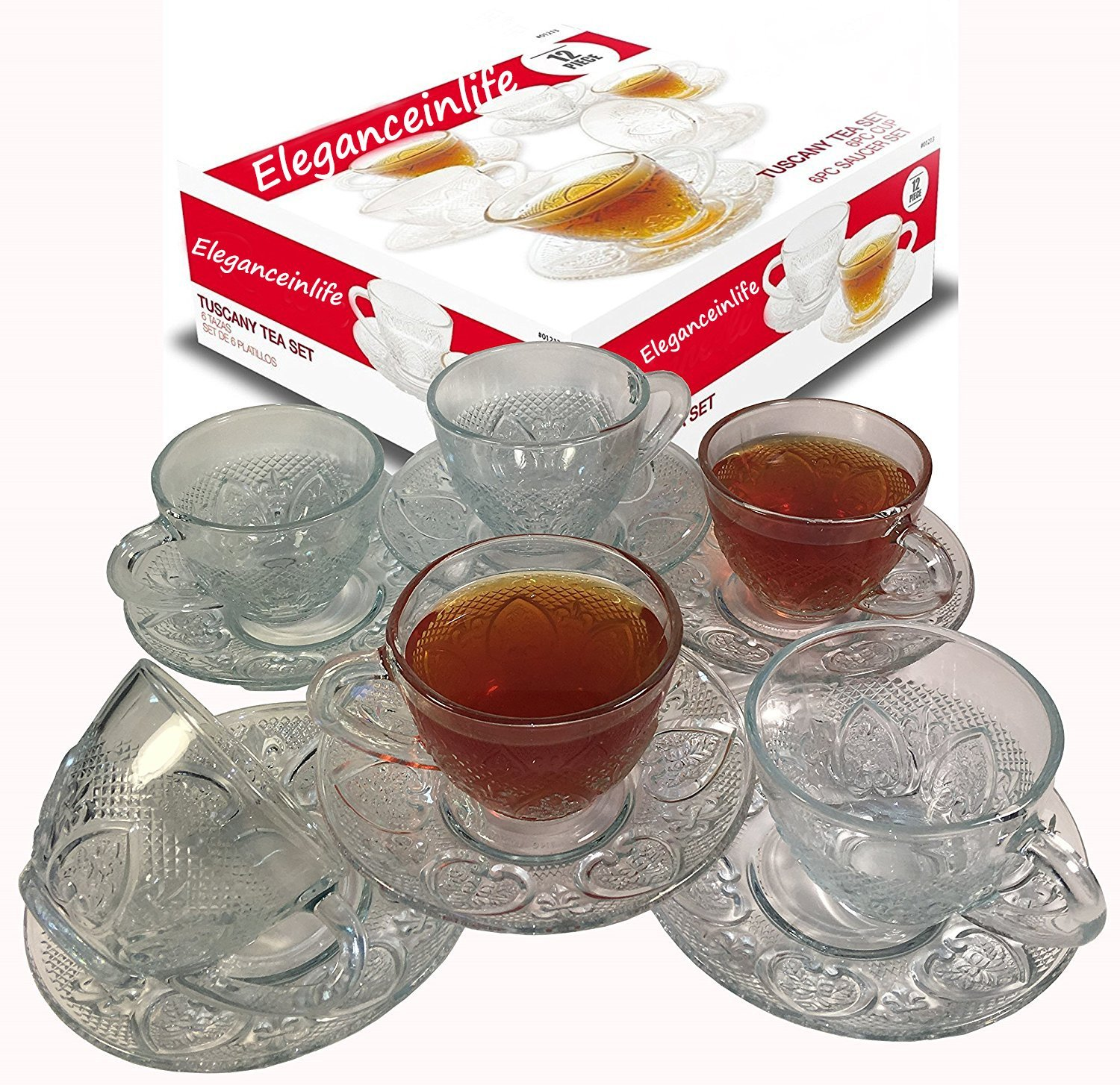 Tea Cup Set 12 Piece Cup & Saucer Set Glass Tea Party Microwave Safe Coffee or Espresso