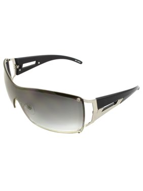 e527d73b95b Product Image Rimless Shield Fashion Sunglasses Black Frame Purple Black  Lenses for Men and Women