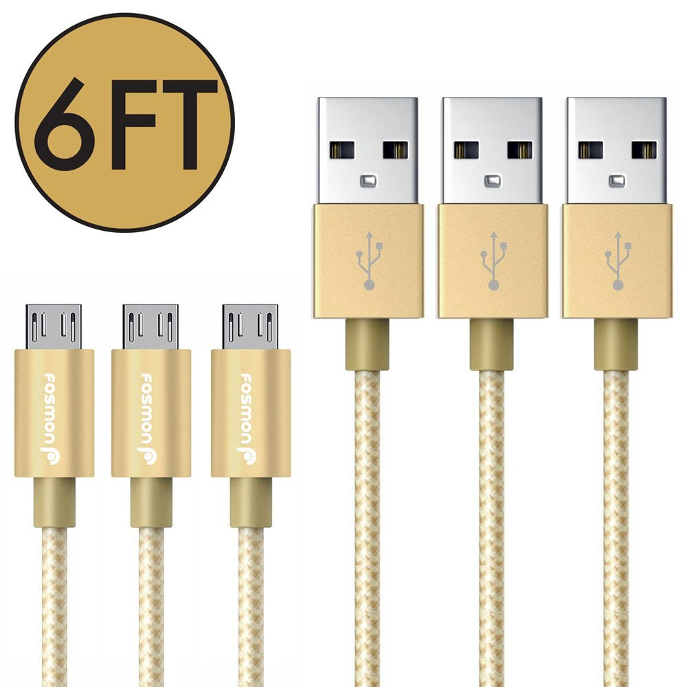 Fosmon 3 Pack 6ft Micro USB Sync & Charge Cable for Moto G4 / G4 Plus - Gold