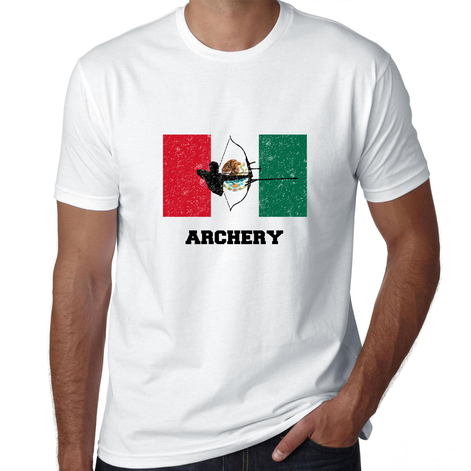 Mexico Olympic - Archery - Flag - Silhouette Men's T-Shirt