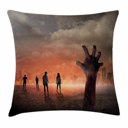 Zombie Decor Throw Pillow Cushion Cover, Hand Comes Out of Surface People Death in Town Burning City Digital Art, Decorative Square Accent Pillow Case, 20 X 20 Inches, Salmon Light Grey, by Ambesonne
