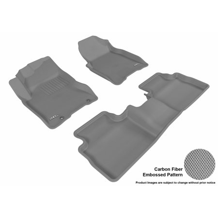 3D MAXpider 2008-2013 Nissan Rogue Front & Second Row Set All Weather Floor Liners in Gray with Carbon Fiber - Nissan Rogue Suv