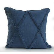 LR Home Tuft Criss Cross Solid Color Royal Dark Blue 18 inch Cotton Fringed Decorative Throw Pillow