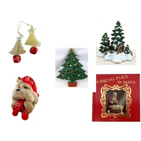 "Christmas Fun Gift Bundle [5 Piece] - Set of 2 Gold Tree w/ Star Jingle Bell Ornaments - Dept. 56 Village Accessory Wagonwheel Pine Grove - Wrought Iron  Tree Trivet - Commonwealth Shar pei   14"" -"