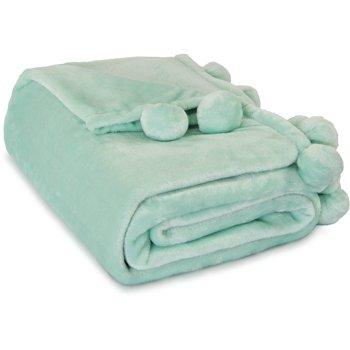 Mainstays Cozy Plush Fleece Pompom Throw Blanket