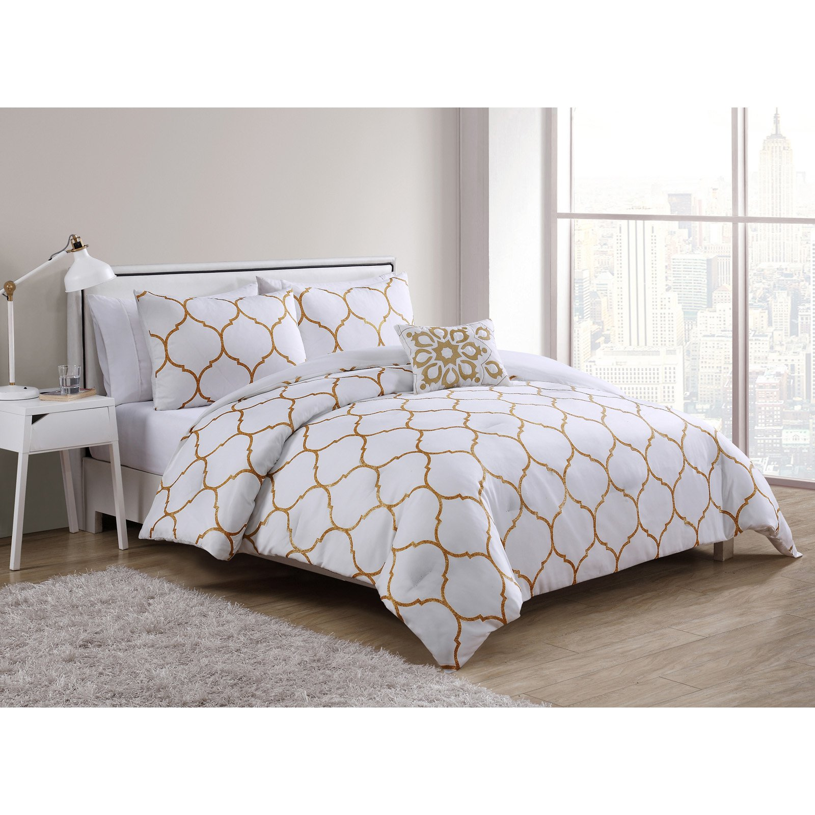 VCNY Home Ogee 3/4 Piece Duvet Cover Bedding Set, Shams Included
